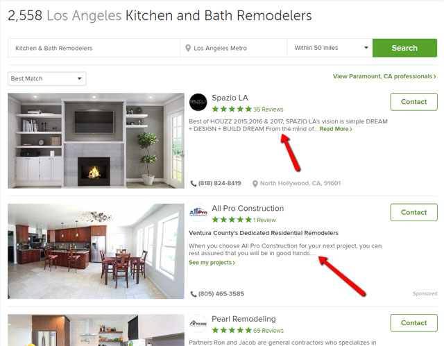 Houzz Search Results Page